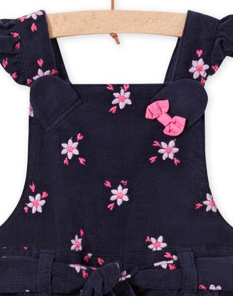 Salopette-short à imprimé fleuri en velours côtelé bébé fille MIPLASAC / 21WG09O1SALC202
