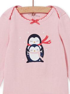 Body manches longues rose chiné motif pingouins bébé fille MEFIBODNEI / 21WH13C2BDLD314