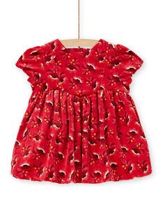 Robe en velours rouge bébé fille KINOROB1 / 20WG09Q1ROBF529