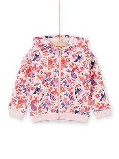 Sweat à capuche rose et violet imprimé perroquets et fleuri enfant fille MAJOHAUJOG3 / 21W90113JGHD314