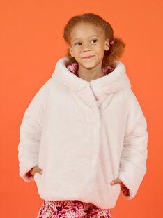 Parka à capuche réversible écrue et rose enfant fille MACAPARKA / 21W90162PARD329