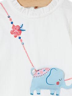 Tee-shirt blanc à manches longues et col bébé fille KISATEE / 20WG09O1TML001