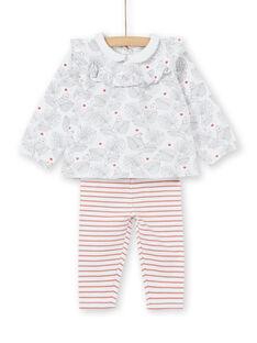 Ensemble blouse à volant et legging naissance fille LOU1ENS2 / 21SF03H1ENS000