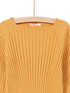 Pull uni manches longues jaune enfant fille MAJOPULL3 / 21W901N2PULB107