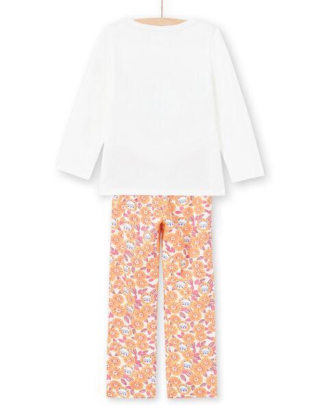 Ensemble pyjama T-shirt et pantalon blanc et orange enfant fille MEFAPYJLEO / 21WH1133PYJ001