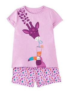 Pyjama court enfant fille violet  JEFAPYJ3 / 20SH11U1PYJ326