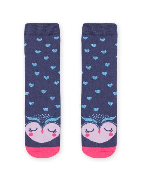Chaussettes bouclettes bleues motif hibou enfant fille MYAPLACHO / 21WI01O1SOQC202