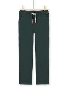 Pantalon en sergé vert foncé enfant garçon MOTUPAN2 / 21W902K2PANG618
