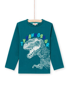 T-shirt manches longues bleu à motif tyrannosaure enfant garçon MOTUTEE6 / 21W902K6TML714