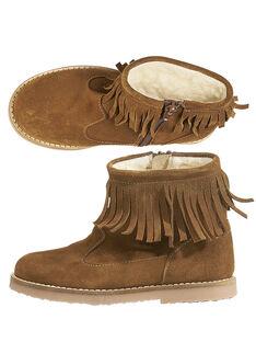Boots bi-matière en croûte de cuir camel et cuir pailleté réhaussée par un col en franges. GFBOOTFRAN / 19WK35X3D0D804
