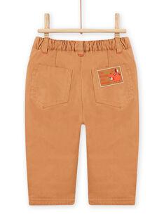 Pantalon marron à empiècements motif ourson bébé garçon MUFUNPAN2 / 21WG10M2PANI820