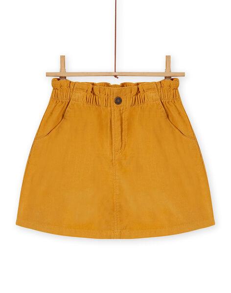 Jupe paperbag jaune en velours côtelé enfant fille MASAUJUP1 / 21W901P2JUPB107