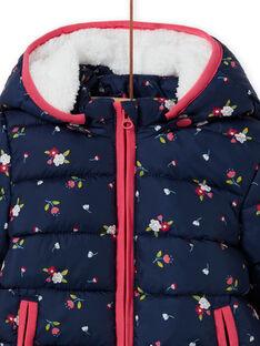 Doudoune à capuche bleu marine à imprimé fleuri bébé fille MIKADOU / 21WG0952D3E070