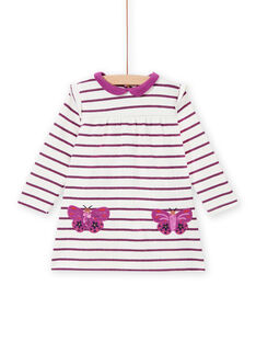 Robe à rayures poches papillons bébé fille MIPAROB2 / 21WG09H5ROB712