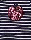 Robe à manches courtes rayée façon marinère avec col claudine et pomme brodées en sequins brillants  GAJOROB1 / 19W90143D2F070