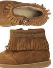 Boots croûte de cuir camel à franges bébé fille GBFBOOTINDC / 19WK37X2D0D804