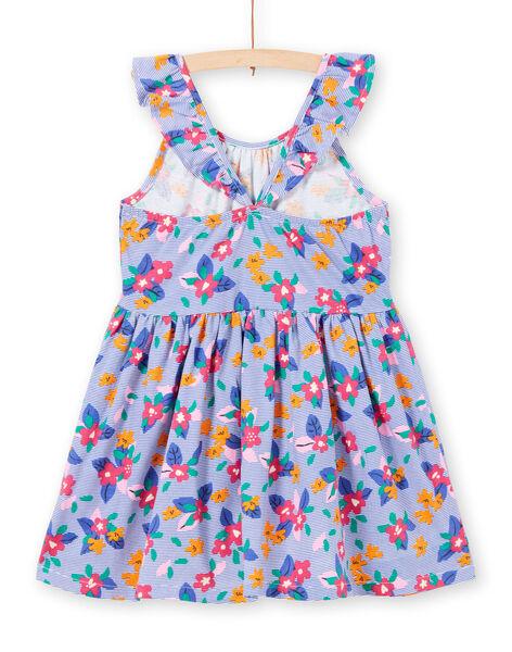 Robe à bretelles volantées imprimé rayures et fleurs enfant fille LAPLAROB1 / 21S901T2ROB000