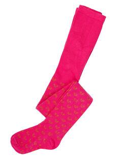Collant en coton fille rose avec motifs lurex  JYAVICOL1 / 20SI01D1COLF507