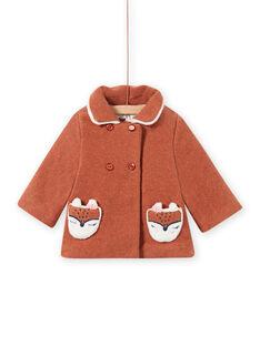 Manteau en laine marron motif renard bébé fille MICHECKMAN / 21WG0961MAN817
