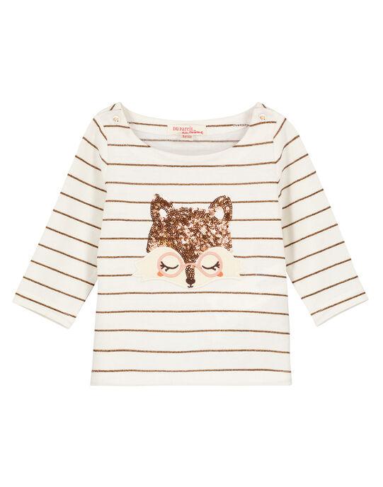 Tee-shirt à manches longues à rayures bébé fille GIJAUTEE2 / 19WG09H2TML001