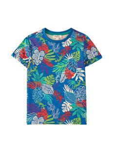 Tee shirt garçon bleu outremer imprimé feuillage tropical JOSAUTI4 / 20S902Q3TMC707
