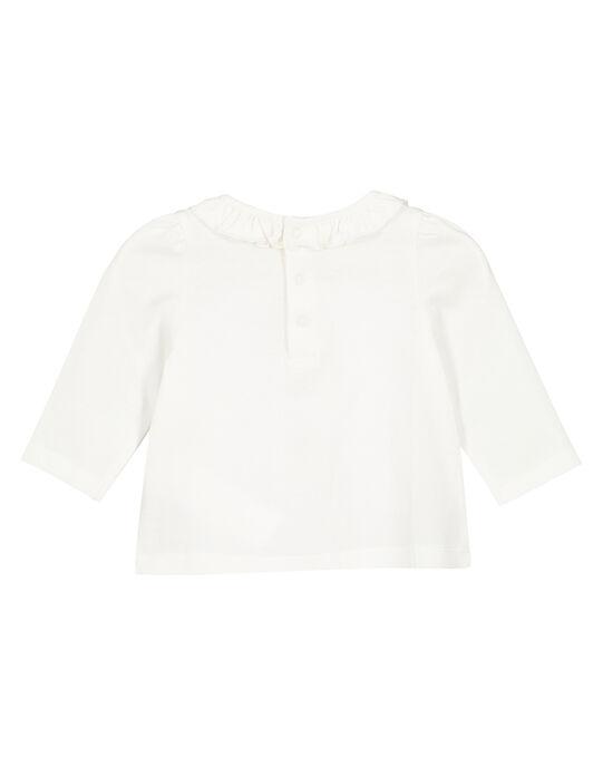 Tee shirt manches longues ecru layette fille GIVIOTEE / 19WG09R1TML001