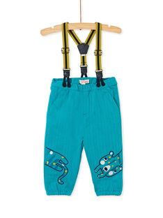 Pantalon bleu avec bretelles bébé garçon KUBRIPAN1 / 20WG10F1PAN202