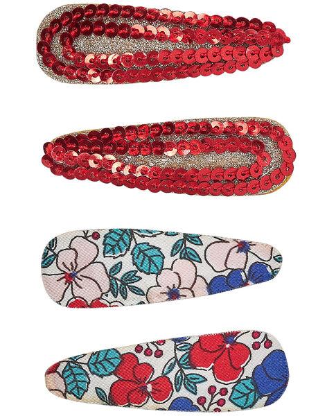 Lot de 4 clips (2 avec motifs fleurs + 2 avec petits sequins rouge + glitter or)  JYAJACLIC1 / 20SI01B2BRT955