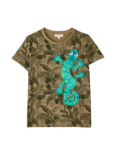 Tee shirt garçon manches courtes kaki imprimé tropical  JOSAUTI2 / 20S902Q5TMC628