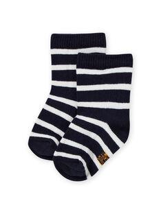 Chaussettes bleu nuit à rayures bébé garçon MYUJOCHOR1 / 21WI1012SOQ713