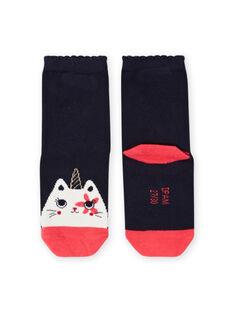 Chaussettes bleu nuit motif chat-licorne enfant fille MYAMIXCHO / 21WI01J1SOQC205