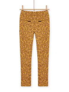 Pantalon fourré jaune imprimé fleurs enfant fille MASAUPANT1 / 21W901P2PANB107