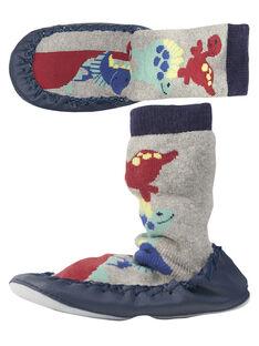 Chausson / chaussette grise avec des dinosaures réhaussé d'un élastique marine. Semelle extérieure souple en croûte de cuir et anti-dérapante. GBGCCDINO / 19WK38Z2D08943
