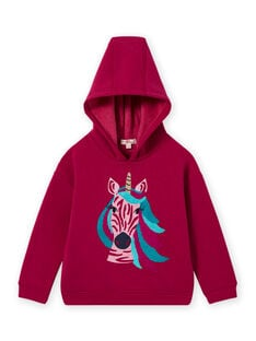 Sweat-shirt à capuche rose motif licorne enfant fille MATUSWEA / 21W901K1SWED312