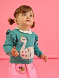 Cardigan bleu motif cygne brodé bébé fille MIKACAR / 21WG09I1CAR612