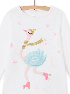 Ensemble pyjama écru en velours motif cygne enfant fille MEFAPYJOST / 21WH1195PYJ001