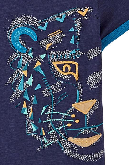 Tee-shirt marine garçon avec broderie motif tête de tigre JOJATI2 / 20S902B2TMC705