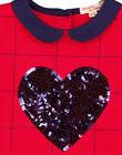Robe à manches courte à carreaux avec un col claudine et un cœur en sequins brillants brodés.  GAJOROB5 / 19W90144D2F050