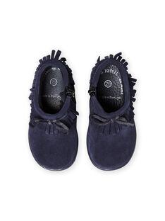 Boots bleu marine à franges bébé fille MIBOOTINDI / 21XK3771D0D070