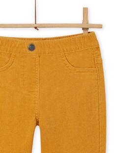 Pantalon en velours côtelé jaune enfant fille MAJOVEJEG2 / 21W901N2PANB107