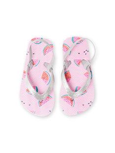 Tongs roses à rayures imprimé pastèque fille LFTONGFRUIT / 21KK3562D01000