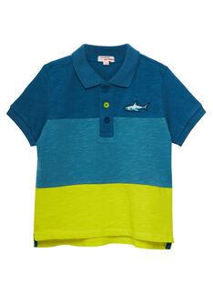 Polo color block garçon tons turquoises et jaune JOBOPOL / 20S902H1POLC219