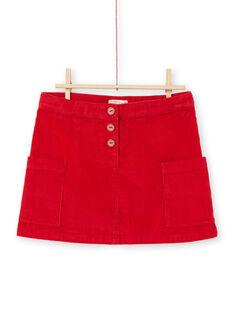 Jupe rouge côtelé enfant fille MACOMJUP1 / 21W901L2JUP408