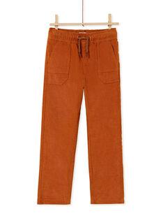 Pantalon taille élastiqué avec poches marron enfant garçon KOGOPAN1 / 20W902L2PANI806