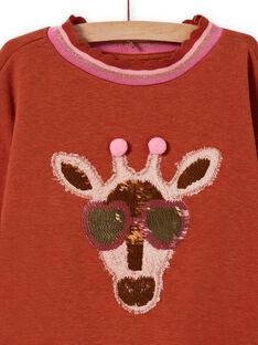 Sweat motif girafe à sequins fantaisie enfant fille MACOMSWEA / 21W901L1SWE420