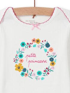 Body blanc motif couronne de fleurs bébé fille MEFIBODPRI / 21WH13C4BDL001