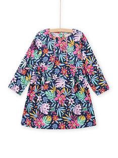 Robe bleue imprimé fleuri coloré en velours enfant fille MAPLAROB2 / 21W901O1ROBC202