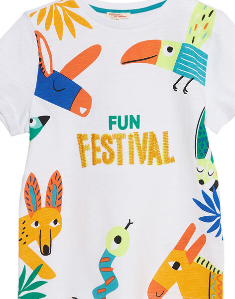 T-shirt manches courtes blanc animaux fantaisie enfant garçon JOMARTI3 / 20S902P6TMC000