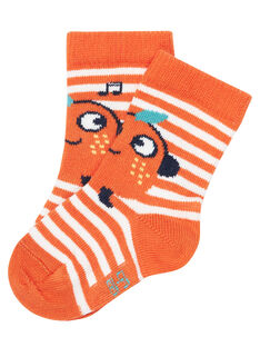 Chaussette bébé garçon rayée orange JYUVICHO1 / 20SI10D3SOQE400