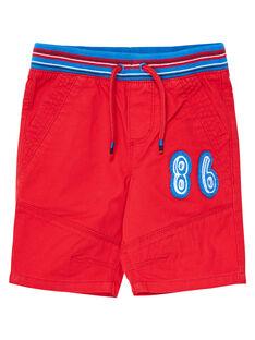 Bermuda elastiqué rouge garçon avec ceinture rayée JOGRABER1 / 20S902E1BERF505